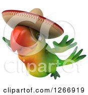 Clipart Of A 3d Green Mexican Parrot Flying Royalty Free Illustration