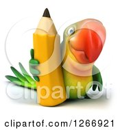 Clipart Of A 3d Green Parrot With A Giant Pencil Royalty Free Illustration