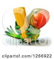 Clipart Of A 3d Green Parrot Writing With A Giant Pencil Royalty Free Illustration