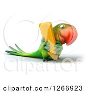 Clipart Of A 3d Green Parrot Writing With A Giant Yellow Pencil Royalty Free Illustration
