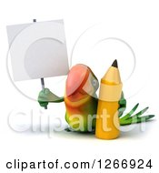 Clipart Of A 3d Green Parrot With A Giant Pencil And Blank Sign Royalty Free Illustration