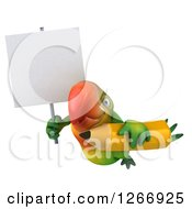 Clipart Of A 3d Green Parrot Flying With A Giant Pencil And Blank Sign Royalty Free Illustration