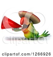 Clipart Of A 3d Green Mexican Parrot Announcing With A Megaphone Royalty Free Illustration