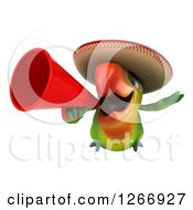 Clipart Of A 3d Green Mexican Parrot Flying And Announcing With A Megaphone Royalty Free Illustration
