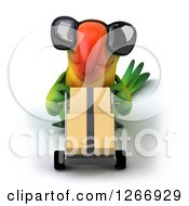 Clipart Of A 3d Green Parrot Wearing Sunglasses And Moving Boxes On A Dolly Royalty Free Illustration