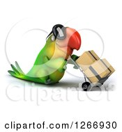 Clipart Of A 3d Green Parrot Wearing Sunglasses And Moving Boxes On A Dolly Walking To The Right Royalty Free Illustration
