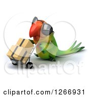 Clipart Of A 3d Green Parrot Wearing Sunglasses And Moving Boxes On A Dolly Walking To The Left Royalty Free Illustration