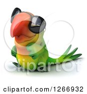 Clipart Of A 3d Green Parrot Wearing Sunglasses And Walking To The Left Royalty Free Illustration