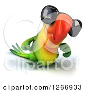 Clipart Of A 3d Green Parrot Wearing Sunglasses And Walking Royalty Free Illustration