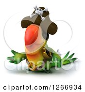 Clipart Of A 3d Green Parrot Pirate Presenting Royalty Free Illustration
