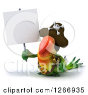 Clipart Of A 3d Green Parrot Pirate Holding Up A Blank Sign Royalty Free Illustration
