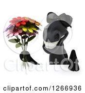 Clipart Of A 3d Black Horse Holding Flowers Over A Sign Royalty Free Illustration