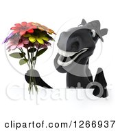 Clipart Of A 3d Smiling Black Horse Holding Flowers Over A Sign Royalty Free Illustration