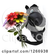 Clipart Of A 3d Black Horse Holding Flowers Around A Sign Royalty Free Illustration