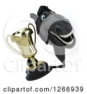 Clipart Of A 3d Black Horse Holding A Trophy Around A Sign Royalty Free Illustration