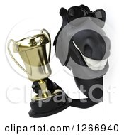 Clipart Of A 3d Smiling Black Horse Wearing Sunglasses And Holding A Trophy Around A Sign Royalty Free Illustration