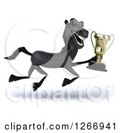 Clipart Of A 3d Black Horse Wearing Sunglasses Running And Holding A Trophy Royalty Free Illustration