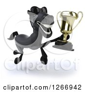 Clipart Of A 3d Happy Black Horse Wearing Sunglasses Running And Holding A Trophy Royalty Free Illustration