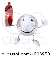Clipart Of A 3d Golf Ball Character Jumping And Holding A Soda Bottle Royalty Free Illustration