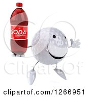Clipart Of A 3d Golf Ball Character Jumping And Holding A Soda Bottle And Facing Right Royalty Free Illustration