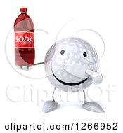 Clipart Of A 3d Golf Ball Character Holding A Soda Bottle Royalty Free Illustration