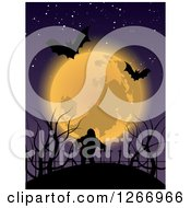 Halloween Background Of Bats And A Full Moon Over A Zombie
