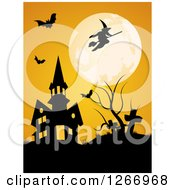 Clipart Of A Full Moon With A Witch And Bats Over A Halloween Haunted House And Cemetery Royalty Free Vector Illustration