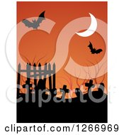 Clipart Of A Halloween Background Of A Crescent Moon Bats And Tombstones Over Orange Royalty Free Vector Illustration
