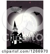 Clipart Of A Full Moon With Bats Over A Haunted Halloween House Royalty Free Vector Illustration