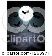 Halloween Background Of Bats And A Full Moon Over Fog