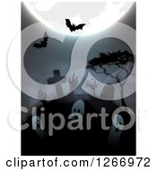 Clipart Of A Halloween Background Of A Full Moon Bats Zombies And Ghosts Rising From Graves Royalty Free Vector Illustration by vectorace