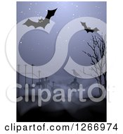 Clipart Of A Halloween Background Of Bats Over A Cemetery With Fog And A Crow Royalty Free Vector Illustration by vectorace