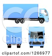 3d Blue Big Rig Truck From Different Angles