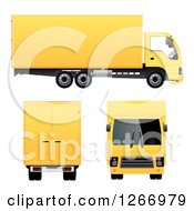 3d Yellow Big Rig Truck From Different Angles