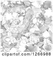 Clipart Of A Background Of Grayscale Autumn Leaves Royalty Free Vector Illustration by vectorace