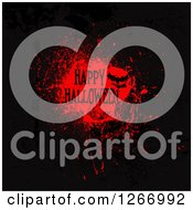 Clipart Of A Happy Halloween Greeting Over A Red Grungy Blood Splatter With A Bat Royalty Free Vector Illustration by KJ Pargeter