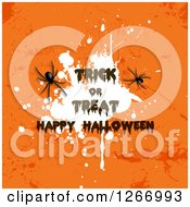 Clipart Of Trick Or Treat Happy Halloween Text Over A White Splatter On Grungy Oragne With Spiders Royalty Free Vector Illustration