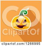 Clipart Of A Halloween Jackolantern Pumpkin And Shadow On Orange Royalty Free Vector Illustration
