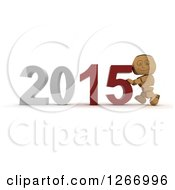 Clipart Of A 3d Box Boy Pushing 2015 New Year Together Royalty Free Illustration