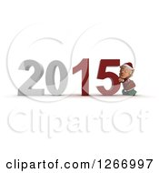 Clipart Of A 3d Christmas Elf Pushing 2015 New Year Together Royalty Free Illustration