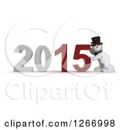 Clipart Of A 3d Snowman Pushing 2015 New Year Together Royalty Free Illustration