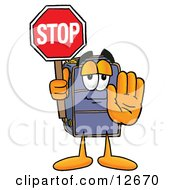 Suitcase Cartoon Character Holding A Stop Sign