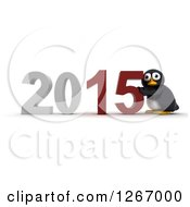 Clipart Of A 3d Penguin Pushing 2015 New Year Together Royalty Free Illustration by KJ Pargeter