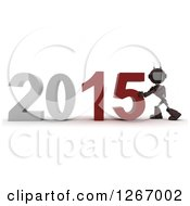 Clipart Of A 3d Red Android Robot Pushing 2015 New Year Together Royalty Free Illustration