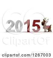 Clipart Of A 3d Reindeer By 2015 New Year Royalty Free Illustration