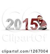 3d Santa Pushing 2015 New Year Together