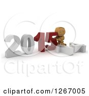Clipart Of A 3d Box Boy Pushing 2015 New Year Together By A Fallen 14 Royalty Free Illustration