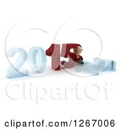 Clipart Of A 3d Christmas Elf Pushing 2015 New Year Together By A Fallen 14 Royalty Free Illustration