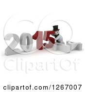 Clipart Of A 3d Snowman Pushing 2015 New Year Together By A Fallen 14 Royalty Free Illustration
