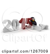 Clipart Of A 3d Penguin Pushing 2015 New Year Together By A Fallen 14 Royalty Free Illustration by KJ Pargeter